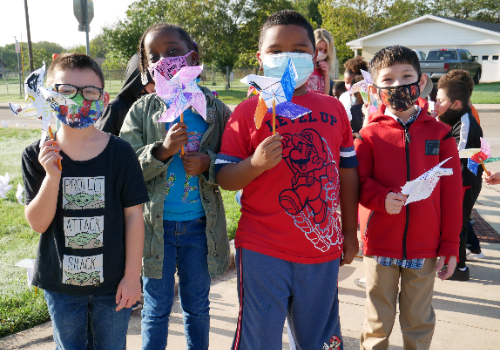 Miller Heights Elementary Students Plant Pinwheels for Peace